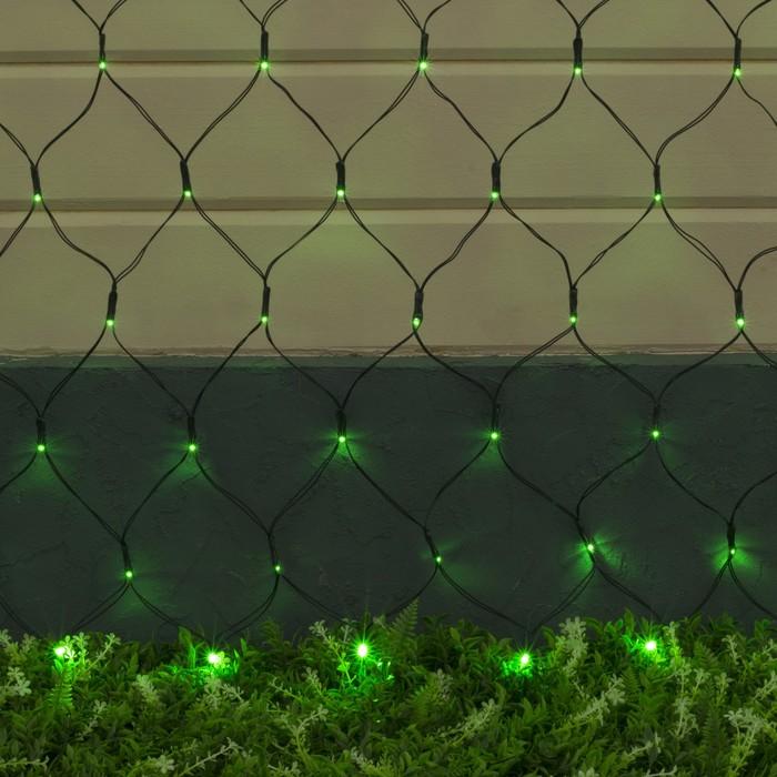 """Гирлянда """"Сеть"""", уличная на солнечной батарее Ш:2 м, В:1,5 м, Н.Т ,LED-192, 2 режима, нить тёмная, свечение зелёное"""
