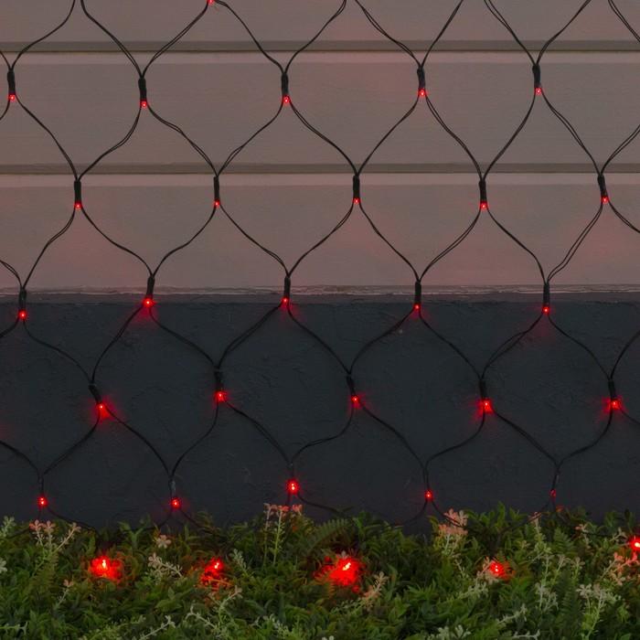 """Гирлянда """"Сеть"""", уличная на солнечной батарее Ш:2 м, В:1,5 м, Н.Т ,LED-192, 2 режима, свечение красное"""