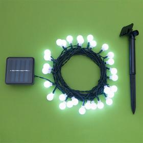 """Гирлянда """"Нить"""" 4.5 м с насадками """"Шарики"""", IP44, тёмная нить, 30 LED, свечение белое, 2 режима, солнечная батарея - фото 7414136"""