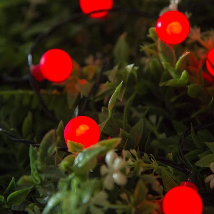 """Гирлянда """"Нить"""", уличная на солнечной батарее с насадками """"Шарик"""", 4,5 м, Н.Т. LED-30, 2 режима, нить тёмная, свечение красное"""