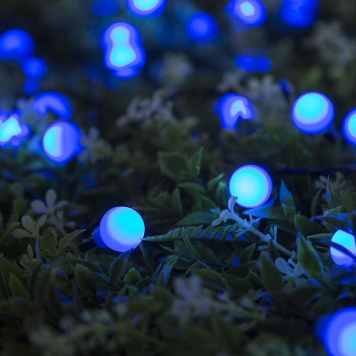 """Гирлянда """"Нить"""", уличная на солнечной батарее с насадками """"Шарик"""", 4,5 м, Н.Т. LED-30, 2 режима, нить тёмная, свечение синее"""