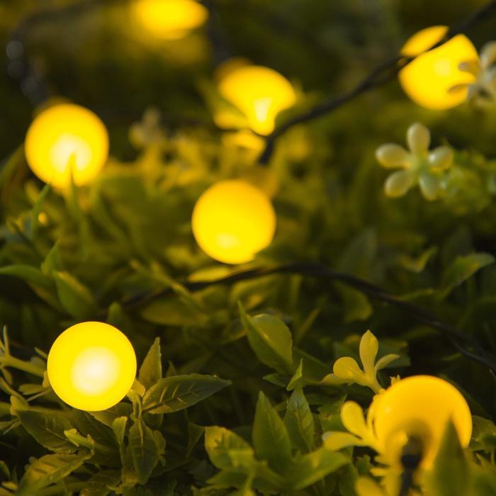 """Гирлянда """"Нить"""", уличная на солнечной батарее с насадками """"Шарик"""", 4,5 м, Н.Т. LED-30, 2 режима, нить тёмная, свечение жёлтое"""