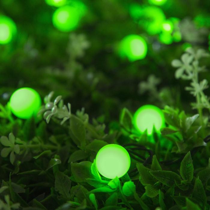 """Гирлянда """"Нить"""", уличная на солнечной батарее с насадками """"Шарик"""", 4,5 м, Н.Т. LED-30, 2 режима, нить тёмная, свечение зелёное"""