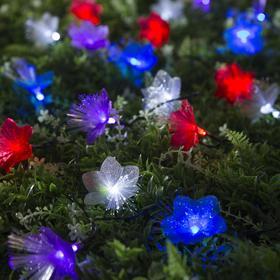"""Гирлянда """"Нить"""" 4.5 м с насадками """"Цветы"""", тёмная нить, 30 LED, свечение RG/RB, 2 режима, солнечная батарея - фото 7414203"""