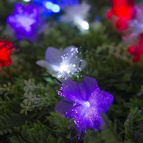 """Гирлянда """"Нить"""" 4.5 м с насадками """"Цветы"""", тёмная нить, 30 LED, свечение RG/RB, 2 режима, солнечная батарея - фото 7414205"""