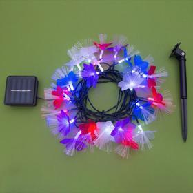 """Гирлянда """"Нить"""" 4.5 м с насадками """"Цветы"""", тёмная нить, 30 LED, свечение RG/RB, 2 режима, солнечная батарея - фото 7414208"""