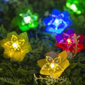 """Гирлянда """"Нить"""" 4.5 м с насадками """"Лилии"""", тёмная нить, 30 LED, свечение RG/RB, 2 режима, солнечная батарея - фото 7414224"""