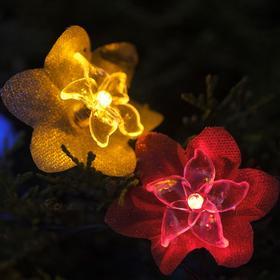 """Гирлянда """"Нить"""" 4.5 м с насадками """"Лилии"""", тёмная нить, 30 LED, свечение RG/RB, 2 режима, солнечная батарея - фото 8214912"""
