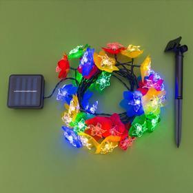 """Гирлянда """"Нить"""" 4.5 м с насадками """"Лилии"""", тёмная нить, 30 LED, свечение RG/RB, 2 режима, солнечная батарея - фото 7414233"""
