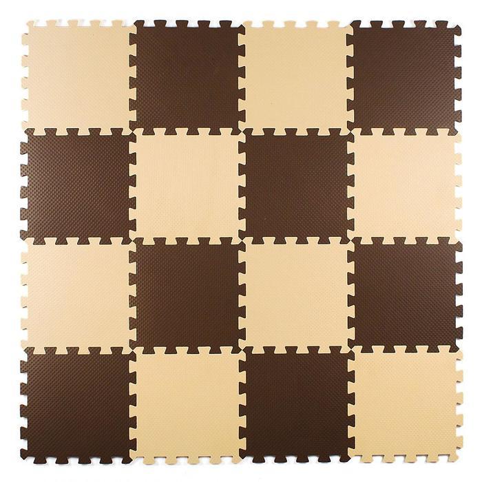 Мягкий пол универсальный, 25 х 25, цвет бежево-коричневый - фото 798224689