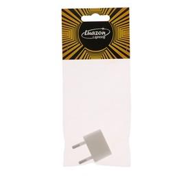 Переходник Luazon Lighting, 6 А, евро, плоский, 220 В, белый, 1 шт.
