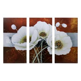 "Картина модульная на подрамнике ""Белый цветок"" 99x65 см.(3-33х65)"