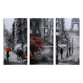 "Картина модульная на подрамнике ""Под дождем"" 99x65 см.(3-33х65)"