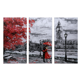 "Картина модульная на подрамнике ""Любовь под дождем"" 99x65 см.(3-33х65)"