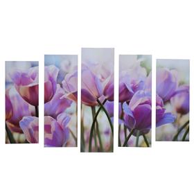 """Картина модульная на подрамнике """"Тюльпаны"""" 125х80 см (2-25х63, 2-25х70, 1-25х80)"""