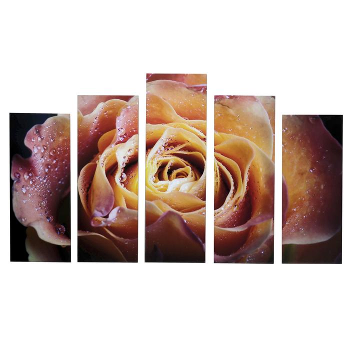 """Картина модульная на подрамнике """"Волшебная роза"""" 125х80 см (2-25х63, 2-25х70, 1-25х80)"""