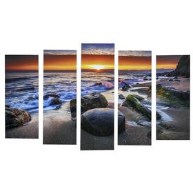 "Картина модульная на подрамнике ""Закат на берегу"" 125х80 см (2-25х63, 2-25х70, 1-25х80)"