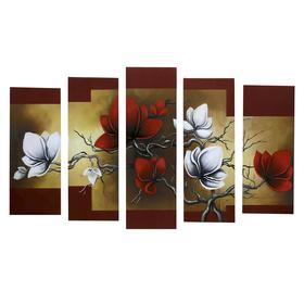 """Картина модульная на подрамнике """"Цветы"""" 125х80 см (2-25х63, 2-25х70, 1-25х80)"""