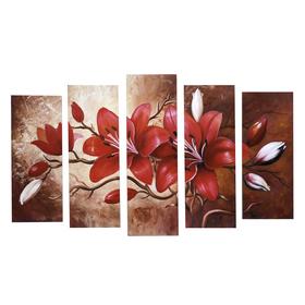 """Картина модульная на подрамнике """"Красные цветы"""" 125х80 см (2-25х63, 2-25х70, 1-25х80)"""