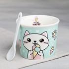 Набор «Котик»: пиала для мороженого 150 мл, ложка - фото 105488715
