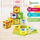 Набор цветных кубиков «Животные», 6 штук, 6 х 6 см
