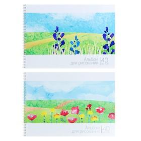 Альбом для рисования А4, 40 листов на гребне «Пейзаж: цветочное поле», обложка мелованный картон, ВД-лак, блок 100 г/м2, МИКС