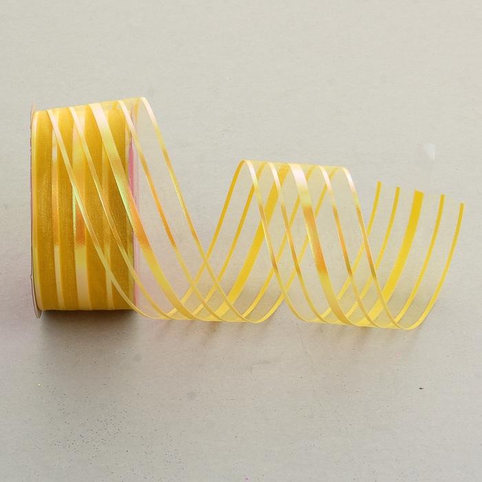 Лента упаковочная с полосой, цвет жёлтый