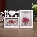 """Plastic photo frame for 2 photos 10x15, 13x18 cm """"Hearts on strings"""" white 20,5х33х2 cm"""