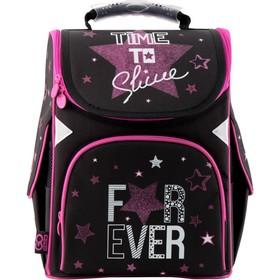 Ранец Стандарт GoPack 5001S, 34 х 26 х 13 см, для девочки, For Ever, чёрный/розовый