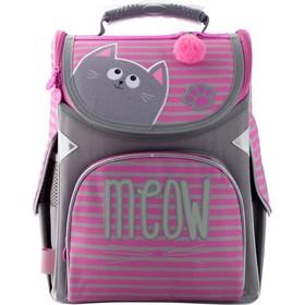 Ранец Стандарт GoPack 5001S, 34 х 26 х 13 см, для девочки, Meow, розовый/серый