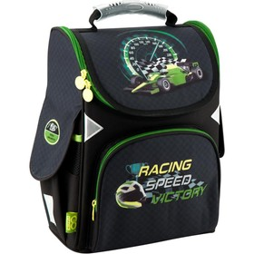 Ранец Стандарт GoPack 5001S, 34 х 26 х 13 см, для мальчика, Racing Speed, серый/зелёный