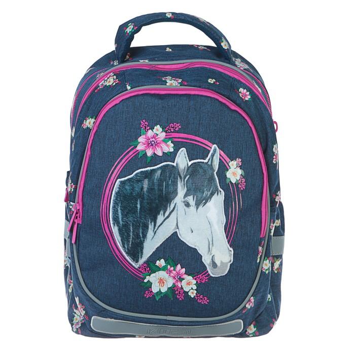 Рюкзак школьный эргоном.спинка Kite 700 38*28*16 дев Beautiful horse, син(джинс K19-700M-1