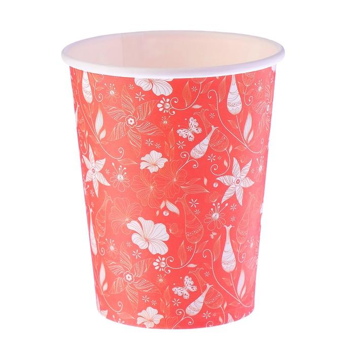 """Стакан бумажный """"Оранжевые цветы"""" 250 мл, диаметр 80 мм"""