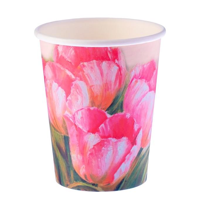 """Стакан бумажный """"Тюльпаны"""" 250 мл, диаметр 80 мм"""