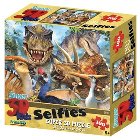 3D Пазл «Динозавры селфи», 100 элементов