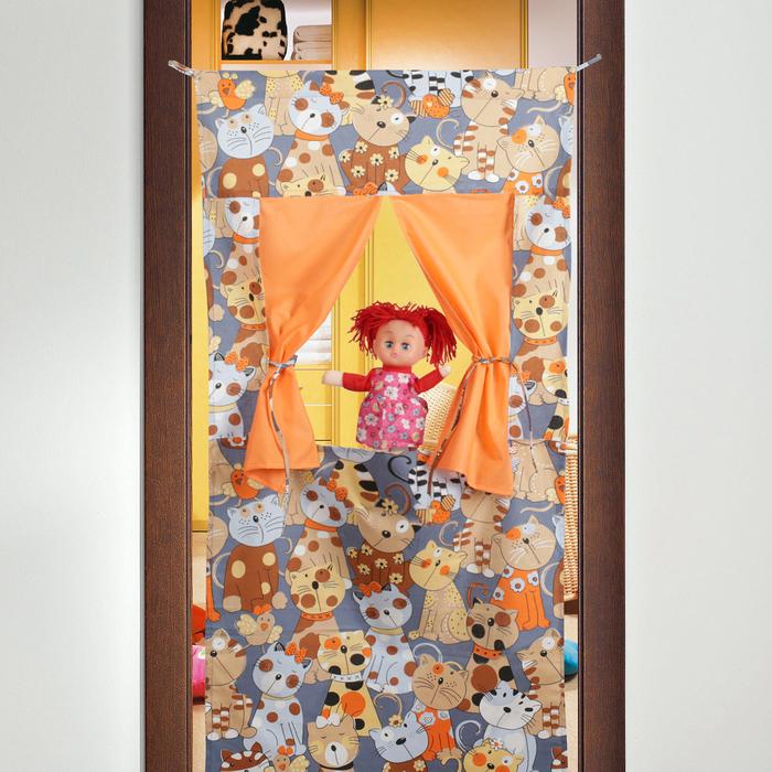 """Ширма для кукольного театра """"Котики"""",текстиль, р-р 120*60 см"""