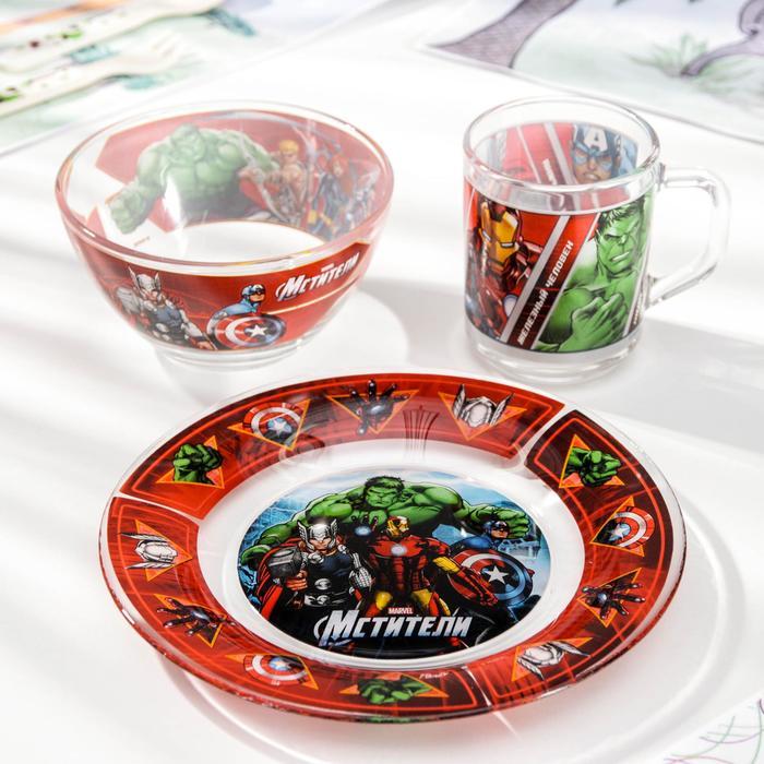 Набор детской посуды «Мстители», 3 предмета: кружка 250 мл, салатник 500 мл, тарелка d=13 см - фото 105460158