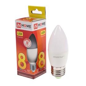 Лампа светодиодная IN HOME LED-СВЕЧА-VC, 8 Вт, Е27, 230 В, 3000 К, 600 Лм