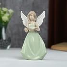 """Сувенир керамика """"Девушка-ангел с рисунком на крыльях в зелёном платье с книгой"""" 16х6х9 см"""