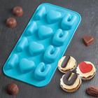 """Форма для льда и шоколада 20×10 см """"Я тебя люблю"""", 12 ячеек, цвет МИКС - фото 308048393"""