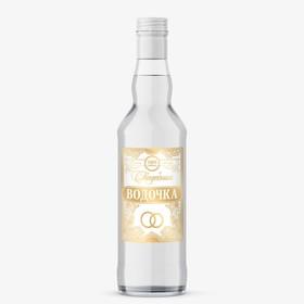 "The label on the bottle of ""vodka Wedding"", 8 × 12 cm"