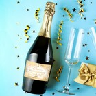 """The label on the bottle of """"Wedding champagne"""" gold, 12 × 8 cm"""