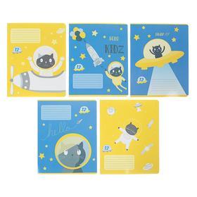Тетрадь 12 листов в клетку «Кот в космосе», обложка мелованный картон, УФ-лак, МИКС