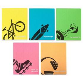 Тетрадь 48 листов в клетку «Будь собой!», обложка мелованный картон, флюоресцентная, МИКС