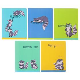 Тетрадь 48 листов в клетку «Еноты», обложка мелованный картон, ВД-лак, блок офсет, МИКС