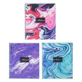 Тетрадь 96 листов в клетку, на гребне «Цветные разводы», обложка мелованный картон, УФ-лак, блок офсет, МИКС