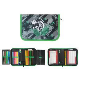 Пенал 1 секция откидные 2 планки, 140 х 205, с наполнением, ткань Herlitz, 31 предмет, для мальчика, Dino Jungle