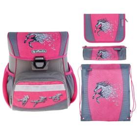 Ранец на замке Herlitz Loop Plus, 37 х 31 х 22, для девочки, Power Horse, пенал 16 предметов + пенал-косметичка + мешок