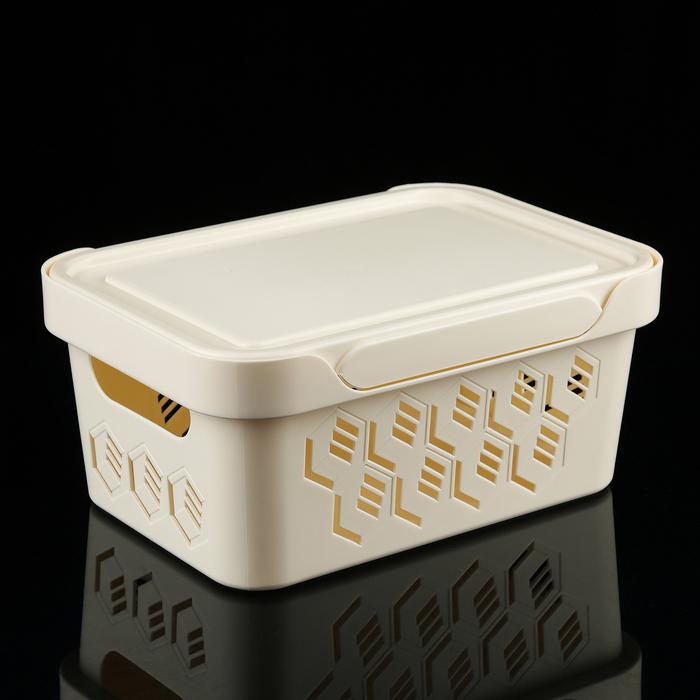 Ящик с крышкой универсальный 4,6 л Deluxe, цвет МИКС