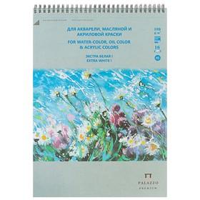 Альбом для акварели, масляной и акриловой краски В4, 16 листов на гребне «Русское поле», экстра белый блок, 180 г/м²